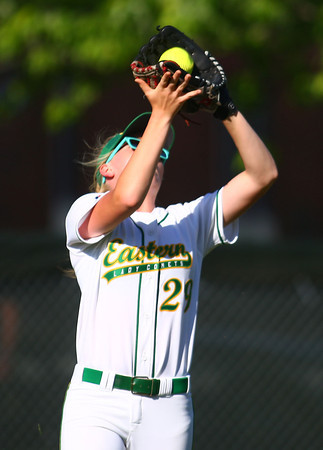 5-31-14<br /> Eastern softball sectional<br /> Eastern's Ashlynn Hochstedler catches the ball in the outfield for an out.<br /> Kelly Lafferty | Kokomo Tribune