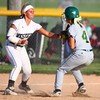 5-30-14<br /> Western Sectional softball<br /> Shelby Gilbert tags out Benton Central's Madison Spangler.<br /> Kelly Lafferty | Kokomo Tribune