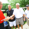 6-16-14   --- The Ball State Alumni Golf outing at the Kokomo Country Club. Brad Edmondson(Executive Director of the Cardinal Varsity Club), Carl McNalty(former KHS Basketball coach), Phil Hershberger(former ball state Football player) and Mike Fleck(BSU Golf Coach) with introductions before the start of the tournament.  --<br />   Tim Bath | Kokomo Tribune