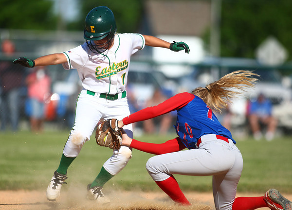 5-31-14<br /> Eastern softball sectional<br /> Eastern's Brooke Stout gets out at second by Elwood's Katelyn Leisure.<br /> Kelly Lafferty   Kokomo Tribune