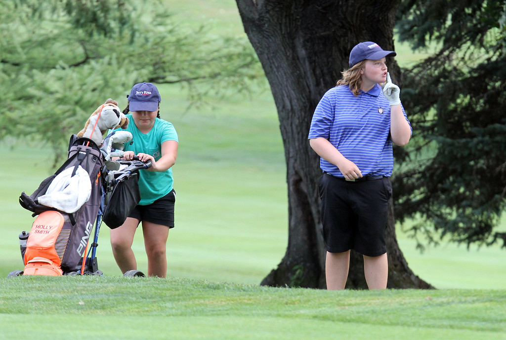 . Lowell Junior City Golf Tournament at Mount Pleasant. Molly Smith gestures to someone as she gets ready to chip onto 18th green. (SUN/Julia Malakie)
