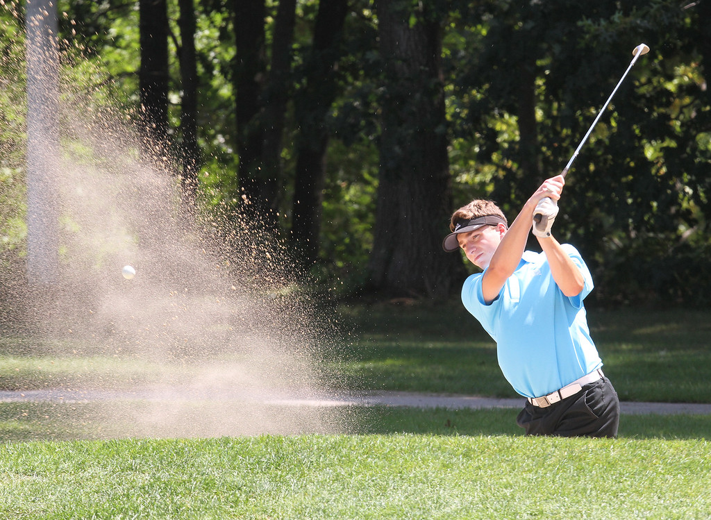 . Lowell Junior City Golf Tournament at Mount Pleasant. Will McNamara hits out of bunker on the 13th hole. (SUN/Julia Malakie)
