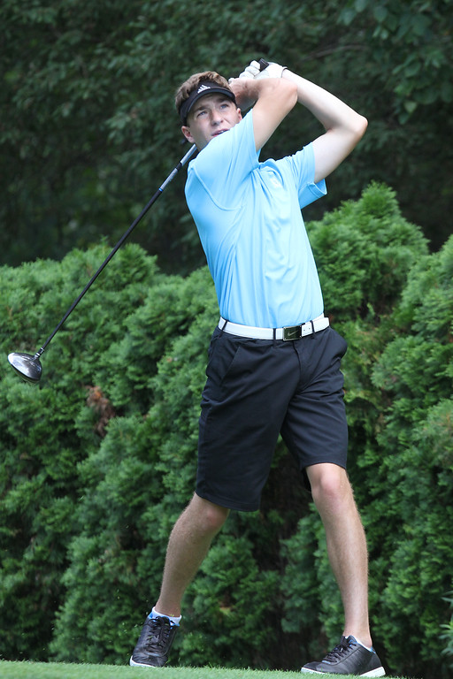 . Lowell Junior City Golf Tournament at Mount Pleasant. Will McNamara hits tee shot on 13th hole. (SUN/Julia Malakie)