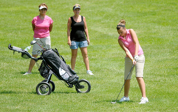 Kylie Porter plays the first hole at Grandview during the Madison County Junior Golf Tour on Wednesday.