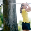 Addison Farrer watches her shot off the second tee at Grandview during the Madison County Junior Golf Tour on Wednesday.