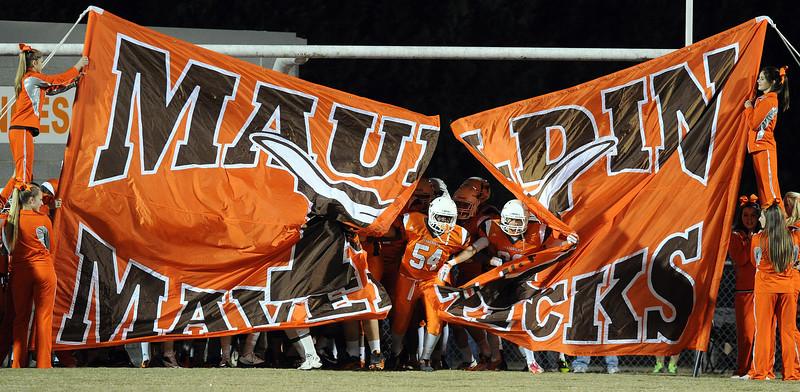 The Mauldin Mavericks played host to the Boiling Springs Bulldogs in a Region 2-AAAA football game.<br /> GWINN DAVIS PHOTOS<br /> gwinndavisphotos.com (website)<br /> (864) 915-0411 (cell)<br /> gwinndavis@gmail.com  (e-mail) <br /> Gwinn Davis (FaceBook)