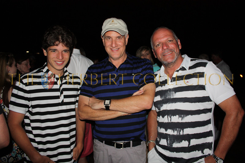 """Justin Galloway, Gary Stiffelman and Colin Dyne bring back memories of """"Jail House Rock"""" at Mirimichis Golf Course opening night party. All are wearing clothing from Justin Timberlake's William Rast and Johan Lindenberg lines."""