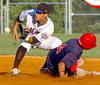 J.C. Cards Luis Mateo slides into second ahead of the throw to K-Mets #24 Ryan Mollica. Photo by Ned Jilton II