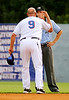 Kingsport Mets manager Mike DiFelice continues his argument with field umpire Ryan Clark despite already getting ejected from the game following a close play at first base in the second inning of Tuesday's matchup against the Elizabethton Twins at Hunter Wright Stadium. Photo by Kris Wilson - kswilson@timesnews.net