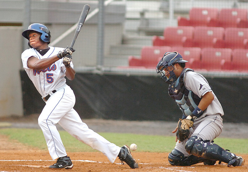 #5 for the K-Mets swings at one that gets away from the catcher. He was thrown out at first. Photo by Ned Jilton II