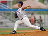 #47, Releaf  :-) pitcher for the K-Mets delivers to home. Photo by Ned Jilton II