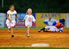 A couple of young fans outrun the Kingsport Mets mascot during a promotion in between innings of the Mets' game against the Bluefield Orioles Thursday night at Hunter Wright Stadium. Photo by Kris Wilson - kswilson@timesnews.net