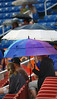Fans wait it out underneath their umbrellas during the Kingsport Mets and Elizabethton Twins game. Photo by Erica Yoon