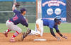 Kmets #15, Tillman Pugh, dives into second as JC Cards #18, Tyler Rahmatulla, misses the tag. Photo by Ned Jilton II