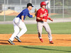 JC Cardinals runner Adam Ehrlich is tagged out by K Mets #5 during game 1 of the doubleheader at Hunter Wright Stadium on Tuesday. Photo by Jonathan McCoy.