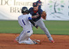 K Mets runner, #1, slides into second base as JC Cardinals second baseman Bruce Caldwell prepares to apply the tag on the stolen base attempt. K Mets runner was out on the play. Photo by Jonathan McCoy.