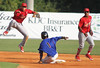 JC Cardinals second baseman Ildemaro Vargas jumps out of the way of Mets runner #1 during game 1 of the doubleheader at Hunter Wright Stadium on Tuesday. Photo by Jonathan McCoy.