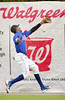 Kmets #15, Eris Peguero, attempts a running catch against the fence in game against Bristol White Soxs but the ball popped out. Photo by Ned JIlton II