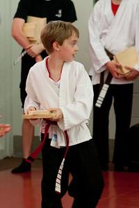 Tyler at his karate test.  The next belt...BLACK!