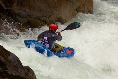 Eddy Mead taking part in qualifying during the Adidas Sickline whitewater kayak competition 2013.