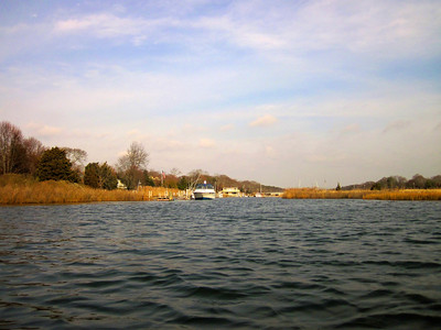The view from the kayak, down the little creek near Baycrest Ave, Westhampton Beach, NY.