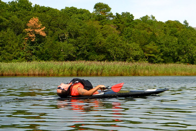 James channeling his inner Flash Dance. Kayaking down the Peconic Riverfront.