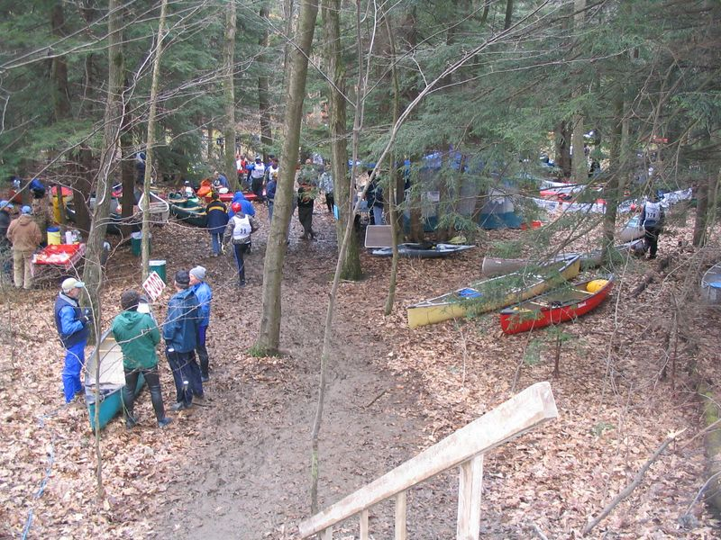 We arrive at the race. Canoes and Kayaks are laying everywhere.