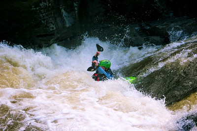 The hole at the end of the Serpents Tail Rapid. Here, Will is laughing at it.