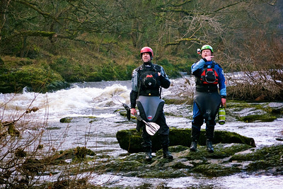 Wyedean Canoe Club members recce the Serpents Tail for safety near Llangollen before attempting a run. Actually these two are laughing in the face of the Serpents Tail. The Serpents Tail will have no hold on them, oh no! The Serpents Tail will cower!