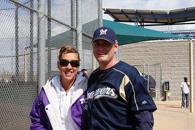 Former Frog pitcher, Shawn Ferguson, now throws for the Brewers. Pictured here with Robyn Conlon.