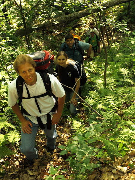 Scott, Beth and Ken climbing up from the St. Croix River to top of the ridge above.  We were careful to avoid poison ivy - after being educated by Dave.