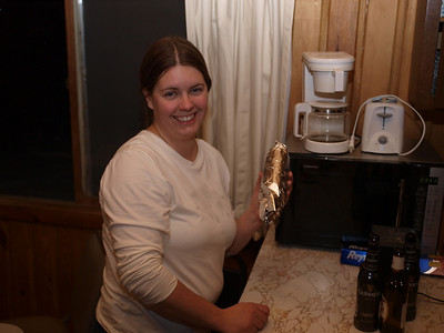 """Jane is preparing """"Tim Curtis MRE"""" sandwiches for the Saturday trip on the Kekekabic Trail clearing.  It looks like a lot fun!"""