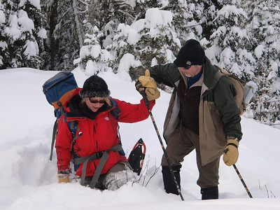 """Deep snow can pose a challenge. Here we are taking photo for corporate poster """"Teamwork."""""""