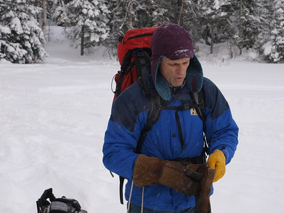 """Dave is getting ready to cross the Snowbank Lake.  We are breaking trail in 8"""" inches of fresh snow that had fallen overnight."""