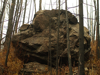 One of giant boulders dotting the charred landscape.
