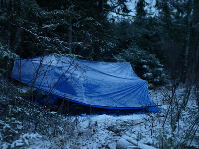 Big is better.  Dan Cooke's tarp provided me with comfortable shelter from the elements.
