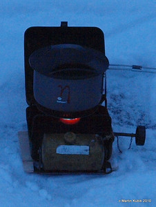 Here is Jan's brand new ultra efficient PRIMUS ETA Power cook pot with radiator fins.  Powering it up is Optimus 111B expedition stove.  It is heavy, but built like a tank.  It also let's you know it on and cooking, by the sound of the jet-like engine.