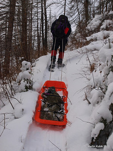 Pulling a sled is kind of like volunteering.   In order to make it work, one has to pull steady all the way uphill.  In the sled are two bow saws, Forest Service cross cut saw, three loppers, spare blades and a can of spray oil to lubricate saws.