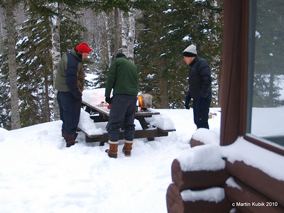 Fortunately, all of our trips are training trips and we brought three stove models for familiarization.  We cook breakfast on the picnic table outside, for obvious safety reasons.