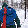 Paul is sporting a vintage Eastern Mountain Sports pack and a rope.  When was the last time you saw a pack with metal waist buckle?  The rope is for me in case I break through ice like two years ago.