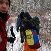 We depart onto the spur trail leading to the KEK and hope the wetland here is frozen.