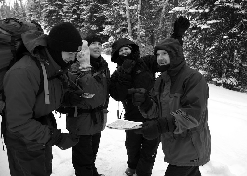 BWA Committee trail crew members at the departure point on Snowbank Lake public landing.  As on many trips, enthusiasm runs high early in the day.  Will it persist later on?  Let's find out.