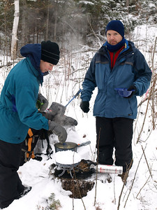 Shawn brought a Coleman Extreme two burner and melted snow for the crew.  Karen is mixing Ramen soup, favored by winter campers for breakfast and lunch alike.  Ramen soup:  It's not just for college kids anymore!