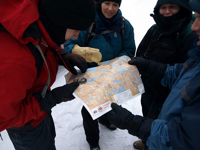 First, we conduct map and compass training session.  Maps for BWA Committee crew were provided by McKenzie Maps www.bwcamaps.com. Luke is taking a bearing for Pickerel Bay on Snowbank Lake.