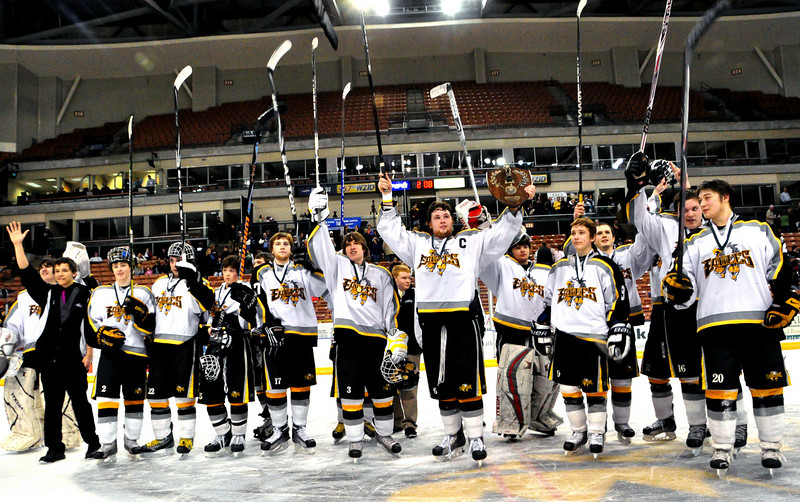 The Kennett High School Eagles defeated the Bedford Bulldogs, 2-1, at the Verizon Wireless Arena, in Manchester, NH, and won the 2009-2010 NHIAA Division 3 Boys Ice Hockey Championship, on March 13th, 2010. <br /> After the presentations and official photos, the Eagles saluted their classmates, parents, and fans, who made the trip to Manchester to cheer them on to their 2nd championship in a row.