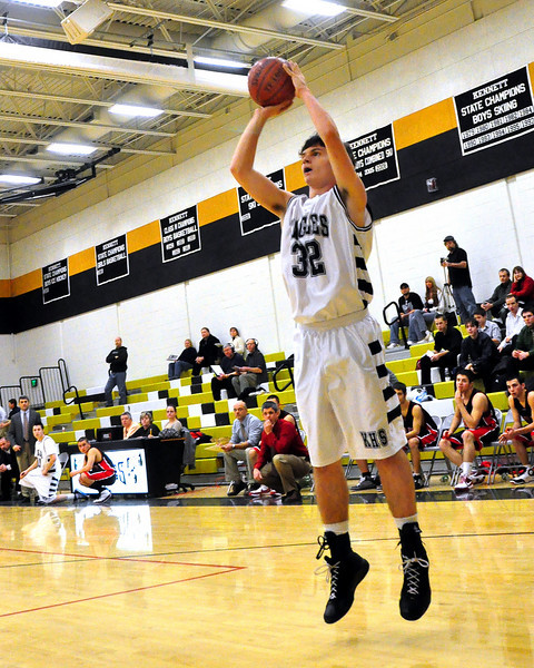 """6'2"""" Kennett Eagle Junior Matt Lautenschlager takes an open jumpshot early in the January 12th game vs. Berlin High Mountaineers, held at Kennett High in Redstone. Berlin came out on top 66-48."""