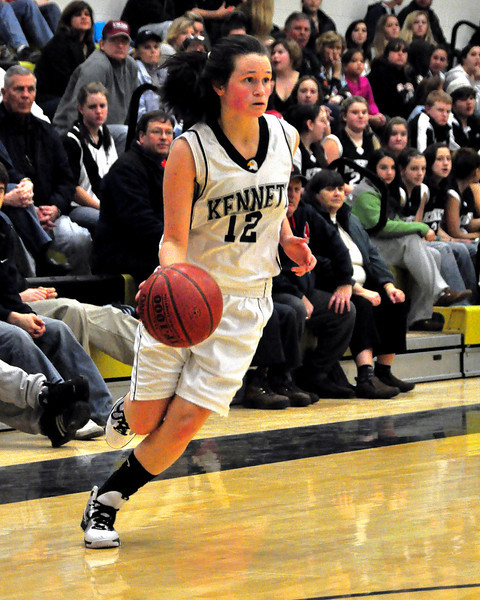 Allie Wagner of Kennett High dribbles the ball during a game vs. Merrimac Valley on January 8th, 2010. Kennett went on to win 62-15.