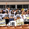 This group of Kennett HIgh School fans, showed their support for the Kennett Eagles hockey team, in their quest for a third straight NHIAA Ice Hockey Championship, as they took on Somersworth, at Verizon Wireless Arena, in Manchester, NH, on March 13th, 2011. Though the Eagles fell short, 8-3, to the Hilltoppers, their fans cheered them on to the end.