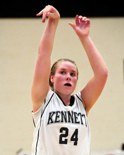 Kennett Eagles senior co-captain, Melissa Frase, watches her free throw go through the basket, during Kennett's March 1st playoff game against visiting St. Thomas Aquinas. The Eagles went on to win, 54-46, in the first round of the NHIAA Girls Basketball Division II Tournament, held at Kennett High School, on March 1st, 2011.