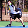 Oren Bentley, of the Kennett Eagles, eyes a forehand return to his Bishop Brady opponent, during an April 15th match at Kennett High School in Redstone. The Eagles were defeated 9-0, to the visiting team from Concord.